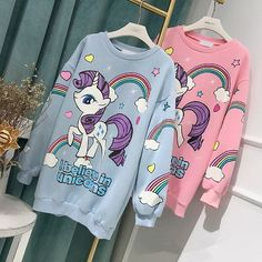 Pink/blue cartoon unicorn printing hoodie sweatshirt SE10915 Use coupon code #cutekawaii for 10% off