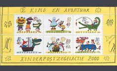 """De kinderpostzegels uit 2000 met het thema """"Kind en avontuur"""". Ontwerp: Sieb Posthuma"""