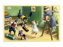 Ansichtkaart 'Poezen schoonmaak' -De Oude Speelkamer