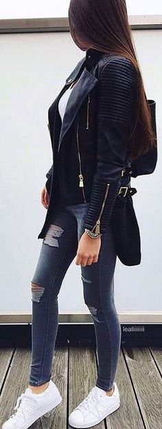 #winter #fashion / Black Bicker Jacket / Ripped Skinny Jeans / White Sneakers