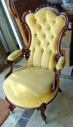 Antique Victorian Walnut Chairs Two - His and Hers (item #640790, detailed views)