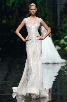 Manuel Mota Metallic Silver Wedding Gown