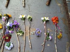 Fairy Wand Autumn Flowers on Live Oak by WhimsyGear on Etsy, : Stick + fake flower + super glue + ribbons Fairy Costume Kids, Woodland Fairy Costume, Woodland Party, Garden Birthday, Fairy Birthday Party, 7th Birthday, Fairy Tea Parties, Fairy Wands, Fairy Crafts