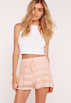 Missguided - Mesh Stripe Runner Shorts Pink