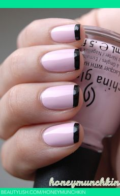 Black and pink french | Emelie J.'s (honeymunchkin) Photo | Beautylish