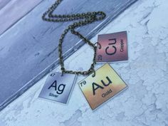 Periodic table necklace gold symbol au pendant bronze effect periodic table necklace gold silver copper urtaz Gallery