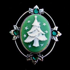 Christmas Tree Cameo Brooch Pin with Sparkling by Hurstjewelry