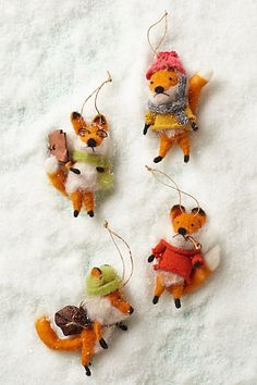 Cottage Fox Ornament Family. @Anthropologie ~ These are too #cute!