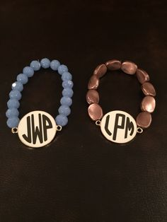 Beaded bracelet with vinyl monogram. Amelia-j-designs.myshopify.com