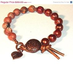 ON SALE Leopardskin Jasper Gemstone and Copper Freshwater Pearls Button and Leather Closure Bracelet by gardengatedesigns. Explore more products on http://gardengatedesigns.etsy.com