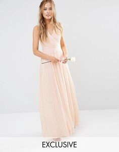 Image 1 of TFNC WEDDING Pleated Wrap Maxi Dress
