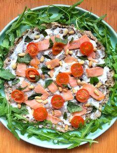 pizza integral de salmão e queijo creme