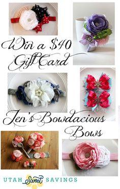 becfdb227d0 Utah Sweet Savings  Giveaway   40 Gift Card to Jen s Bowdacious Bows!!  Hairbows