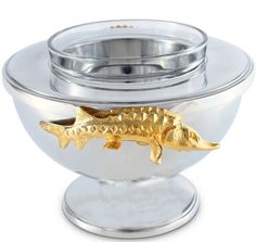 Golden Sturgeon Caviar Server | Nautical Luxuries