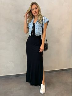 Maxi Skirt Outfits, Modest Outfits, Simple Outfits, Summer Outfits, Casual Outfits, Cute Outfits, Prom Dresses Long Pink, Modesty Fashion, Looks Chic