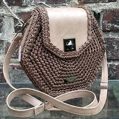 Unique, creative and unusual hexagonal handbag. Made of high quality eco-leather and Italian polypropylene cord. Crochet Purse Patterns, Crochet Shoes, Crochet Handbags, Crochet Purses, Handmade Handbags, Handmade Bags, Designer School Bags, Crochet Slouchy Hat, Slouch Hats