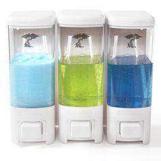 Shampoo and Soap Dispensers by ToiletTree Products dispense just the right amount of product needed!