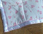 Pink rose cot or pram blanket