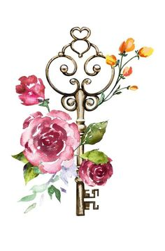 Key w/- roses City Wallpaper, Wallpaper Backgrounds, Iphone Wallpaper, Collage Foto, Photo Collages, Photo Deco, Wall Art Prints, Watercolor Paintings, Watercolour
