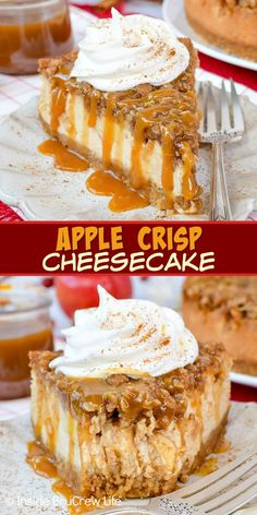Apple Crisp Cheesecake - layers of a crisp oatmeal topping, fresh apples, and cr.Apple Crisp Cheesecake - layers of a crisp oatmeal topping, fresh apples, and creamy cheesecake makes an amazing dessert. Make this easy recipe for fall parties and d Fall Dessert Recipes, Köstliche Desserts, Fall Recipes, Delicious Desserts, Easy Fall Desserts, Recipes Dinner, Elegant Desserts, Healthy Desserts, Amazing Dessert Recipes