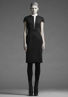 Leather Lapel Wool Dress   Leonard Wong   NOT JUST A LABEL