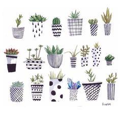 illustration, cute, plants, art, home