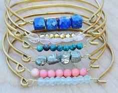 Boho Jewelry Stacking Bracelet Set, Stacking Gemstone Bohemian Bracelet Set, Stacking Bangle Bracelet Set, Multi Gemstone Bracelet Set of 7 Bohemian Bracelets, Gemstone Bracelets, Bracelet Set, Bangle Bracelets, Bangles, Leaf Jewelry, Boho Jewelry, Handmade Jewelry, Horseshoe Earrings
