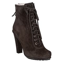 Give yourself a lift in these leggy 4-inch ankle boots from Miu Miu. These dark grey booties have suede uppers accented with a chic lace-up front. Color options: Dark grey Height: Ankle Style: Ankle b