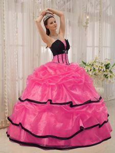 Black and Hot Pink Beaded Ball Gown Quinceanera Gown Dresses with ...
