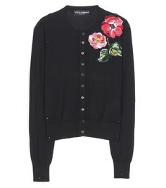 Dolce & Gabbana - Embellished cashmere cardigan - Dolce & Gabbana's chic cardigan has been crafted in Italy from lightweight cashmere. The classic black base adds versatility, while the brilliant rose embellishment, made from sequins and beads, brings an opulent edge. Work yours with a ladylike pencil skirt. seen @ www.mytheresa.com