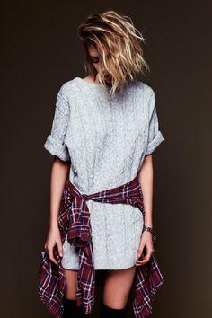 knits + plaid