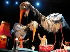 Giant puppets and marionettes are part of the show at Theatre de la Dame de Coeur in Quebec.