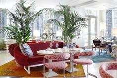 Byblos Miami, South Beach, Miami, Florida, USA. Interior Design by Studio Munge.   Follow @studiomunge   www.studiomunge.com _______________________________________________ #design #interior #hospitality #restaurant #byblos #miami #inkentertainment #studio #munge #studiomunge #decor #inspiration #lounge #red #orange #artdeco #palmtree #vibe #summer