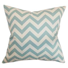 Filled with plush feather and down, this chevron-print pillow adds a pop of style to your bed or sofa.   Product: Pillow...