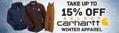 Stay warm without breaking the bank.  Take up to 15% off select Carhartt outerwear now through 2/12!     #Carhartt #WinterWear #BrandsThatWork #WorkingPersonsStore     http://workingperson.com/lp/carhartt-winter-clearance-sale-2017.html?utm_medium=social&utm_source=Carhartt15_1/2