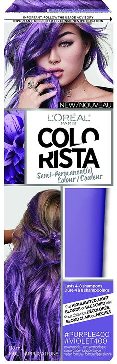 L'Oreal Paris Colorista Semi-Permanent Hair Colour for Blonde Hair, Purple, 180g -- This is an Amazon Affiliate link. Details can be found by clicking on the image.