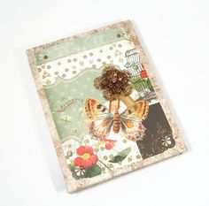 Shabby Chic Victorian Journal Coptic Stiched Blank Butterfly Embellished