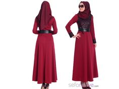 Tesettür Elbise 7192-01 Bordo #sefamerve #tesetturgiyim #tesettur #hijab #tesettür