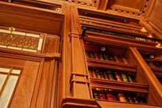 Home Library Stain Glass Door and Walnut Wood Detail Study Office, Home Office, Stained Glass Door, Library Room, Wood Detail, Walnut Wood, Entertainment Center, Woodworking, Building