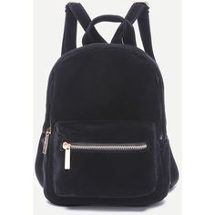 SheIn(sheinside) Black Pocket Front Double Handle Velvet Backpack ($21) ❤ liked on Polyvore featuring bags, backpacks, black, backpack bags, day pack backpack, velvet bag, velvet backpack and rucksack bags