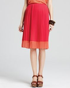 Jones New York Collection Pleated Color Block Skirt | Bloomingdale's