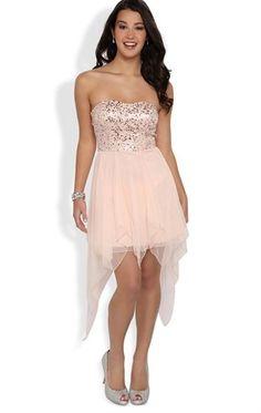 Strapless Sequin Short Homecoming Dress with Uneven Hanky Hem Semi Dresses, Junior Prom Dresses, Dressy Dresses, Dance Dresses, Homecoming Dresses, Cute Dresses, Dress Outfits, Dress Up, Party Dresses