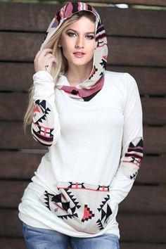 Casual Hooded Long Sleeve Printed Women's Pullover Hoodie