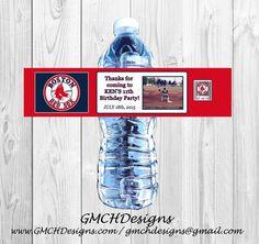 Sports Baseball Birthday Water Bottle Labels Personalized Photo WATERPROOF #Birthday