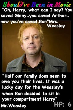 Harry Potter and the Half-Blood Prince Should've Been in Movie Mr. Weasley Mrs. Weasley Ron Harry Ginny