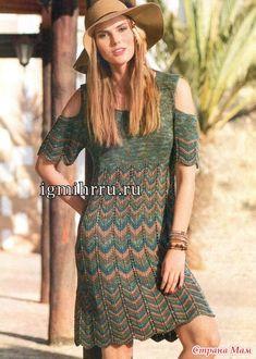 Платье спицами из секционной пряжи  (на мой взгляд, лучше без рукавов)