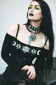Witch choker tops restocked just in time for X-mas  get yours S-XXL in stock!  model @theblackmetalbarbie