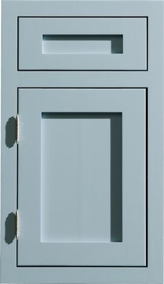 """Dura Supreme #Cabinetry """"Homestead Panel Inset"""" #cabinet #door style in a light gray / blue painted finish."""