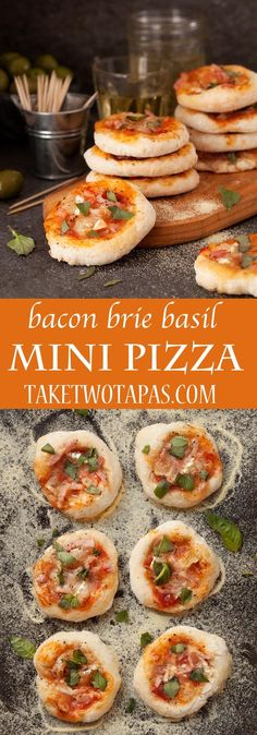 Bacon Brie Basil Bacon Brie Basil Mini Pizzas are a delicious full flavor snack perfect for Game Day! #gameday #appetizer #pizza #fingerfoods