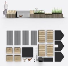 urban kit of parts http://weburbanist.com/2014/01/26/urban-farm-kit-modular-chicken-coops-planters-benches/